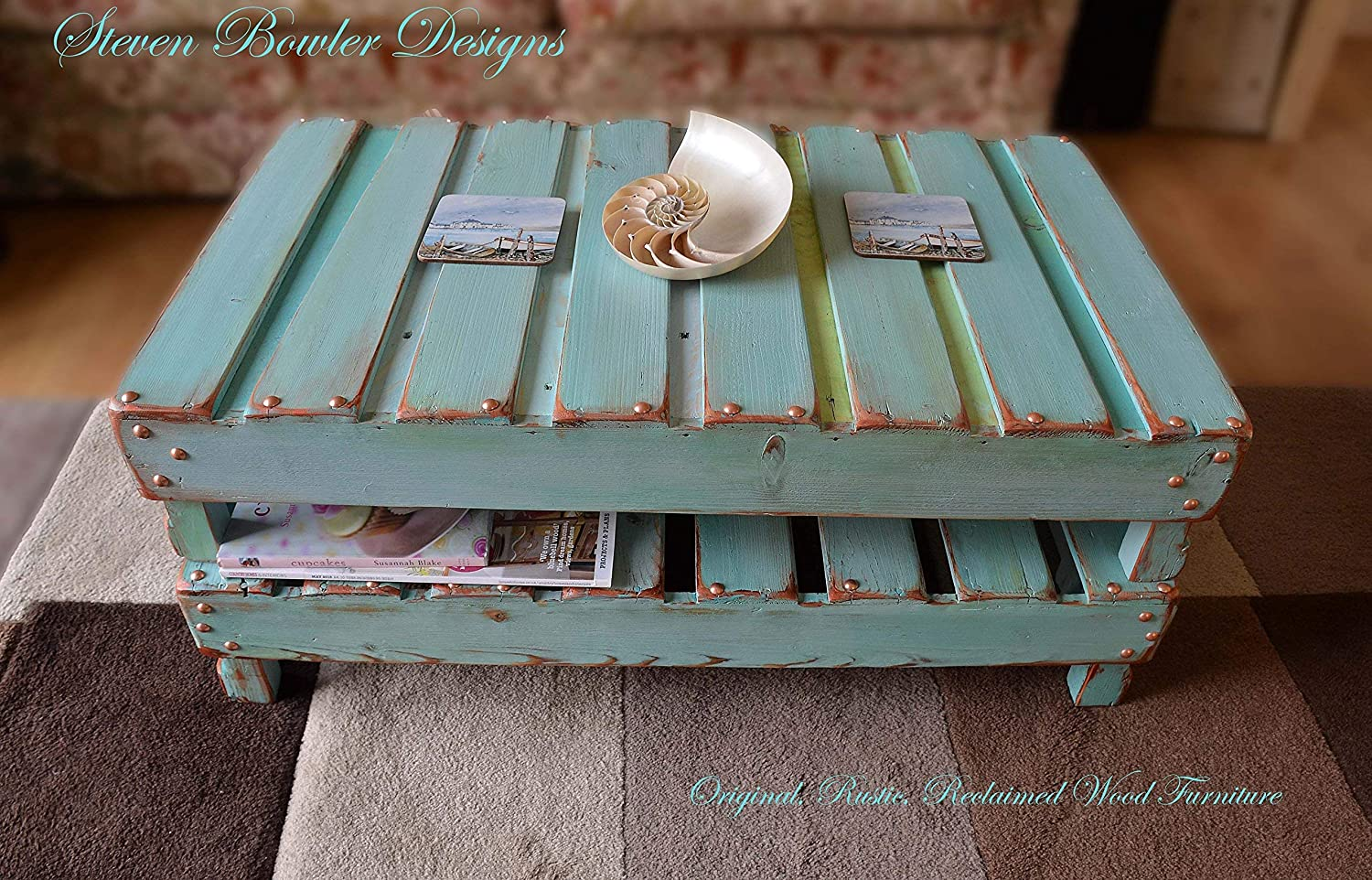 Bespoke Country Cottage Rustic Reclaimed Wood Coffee Table Duck Egg ...