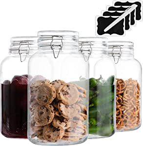 4 Pack - 1 Gallon Glass Jars with Lids Food Storage Jars with Airtight Lids Leak Proof Wide Mouth Pickling Glass Canisters Kitchen Jars