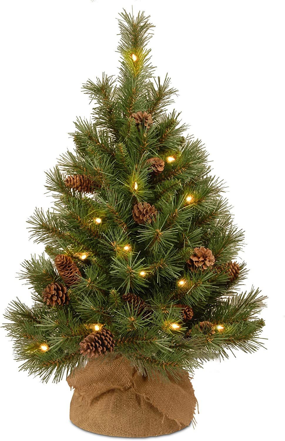 National Tree Company Pre-lit Artificial Mini Christmas Tree | Includes Small LED Lights and Cloth Bag Base | Pine Cone Burlap - 3 ft