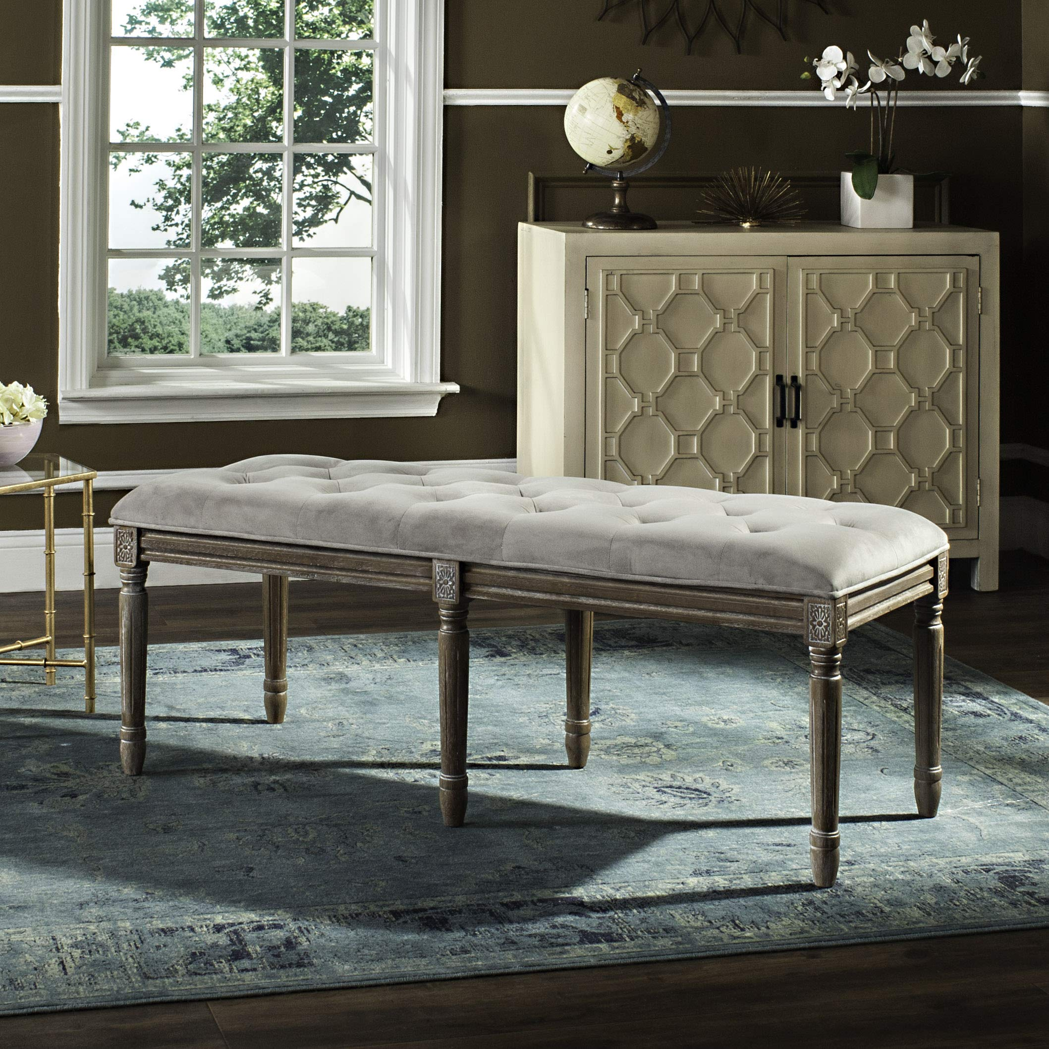 Safavieh Home Collection Rocha French Brasserie Tufted Grey and Rustic Oak 19-inch Wood Bench by Safavieh (Image #1)