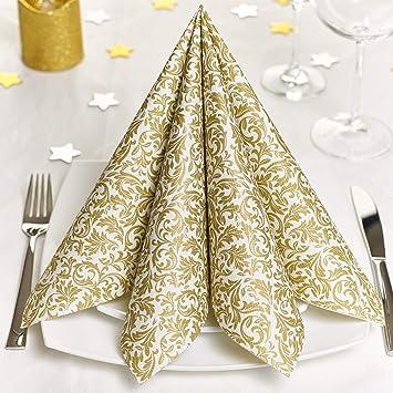 Grubly Servietten Gold Stoffähnlich 100 Stück Hochwertige Goldene Tischdekoration Für Weihnachten Hochzeit Geburtstag Feiern 40x40cm