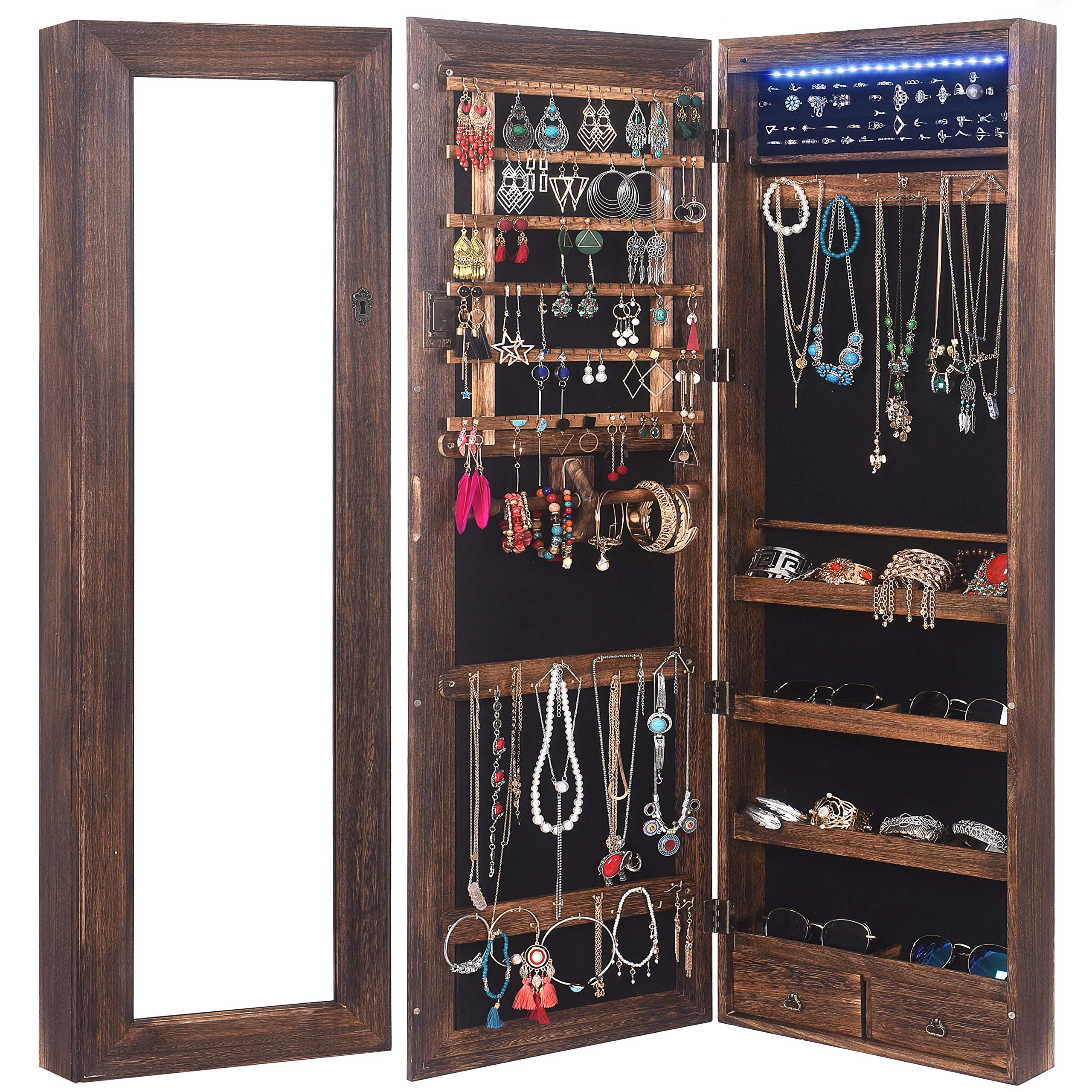 RHF Solid Wood Rustic Jewelry Organizer Lockable Jewelry Armoires Large Jewelry Cabinet with Mirror 2 Drawers 18 leds Jewelry Boxes Case Hanging Over The Door Jewelry Armoire with Mirror