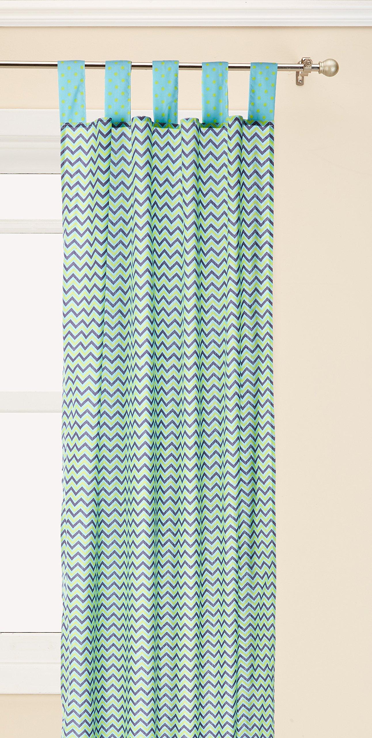 "Pam Grace Creations Curtain Panels, Zigzag Elephant, 34"" x 84"""