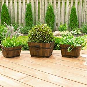 Leisure Season BSQP131 Barrel Style Square Wooden Planters - Brown - Set of 3 - Flower Plant Pots - Indoor and Outdoor Container for Herbs and Succulents - Home and Garden Decor - Wood Planting Box