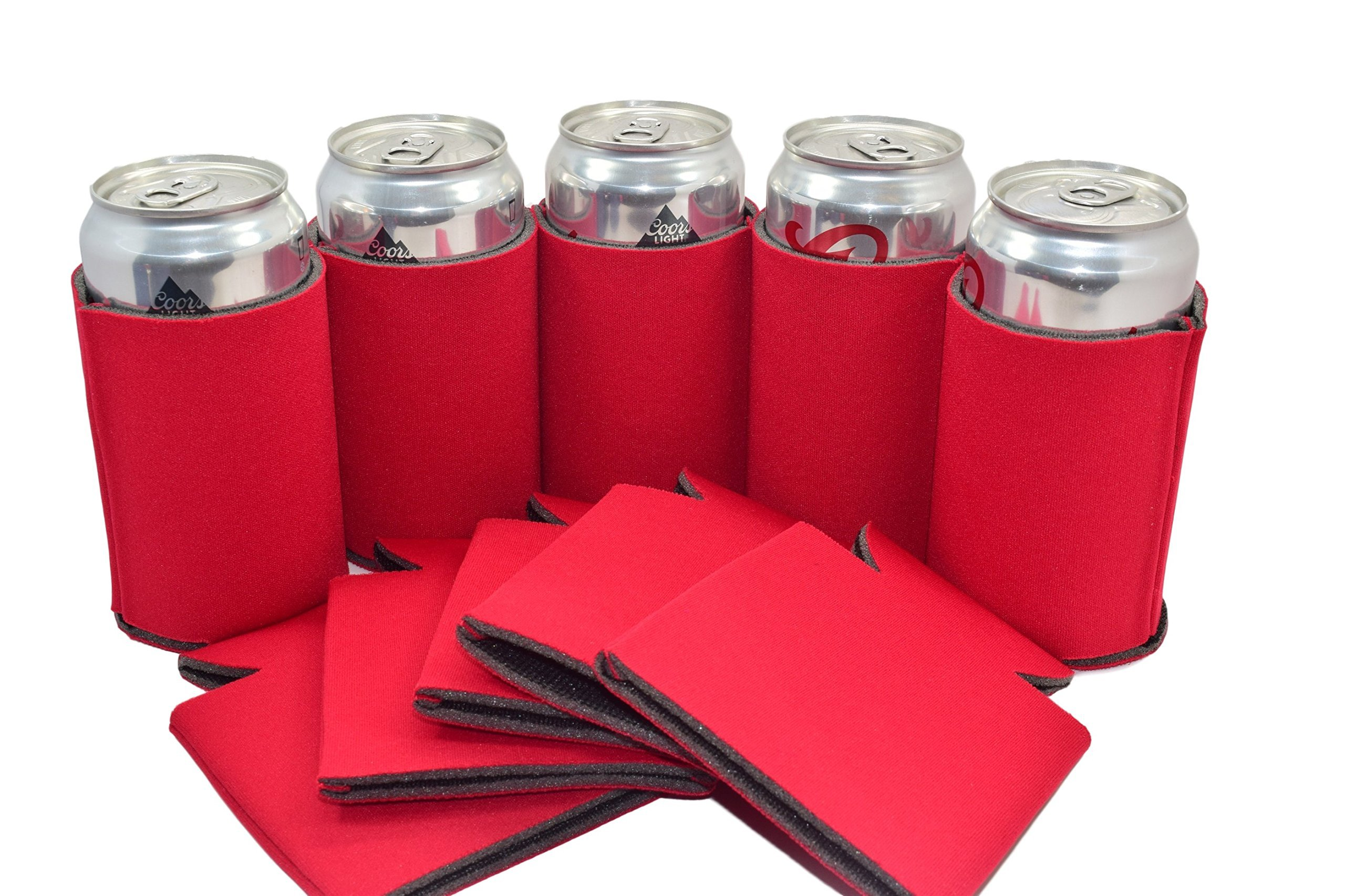 QualityPerfection 25 Red Party Drink Blank Can Coolers(12,25,50,100,200 Bulk Pack) Blank Beer,Soda Coolies Sleeves | Soft,Insulated Coolers | 30 Colors | Perfect For DIY Projects,Holidays,Events