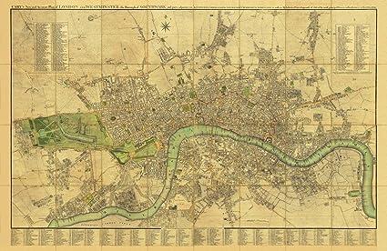 Old Maps Mapa antiguo de Londres, diseño vintage, año 1795 realizado por John Cary