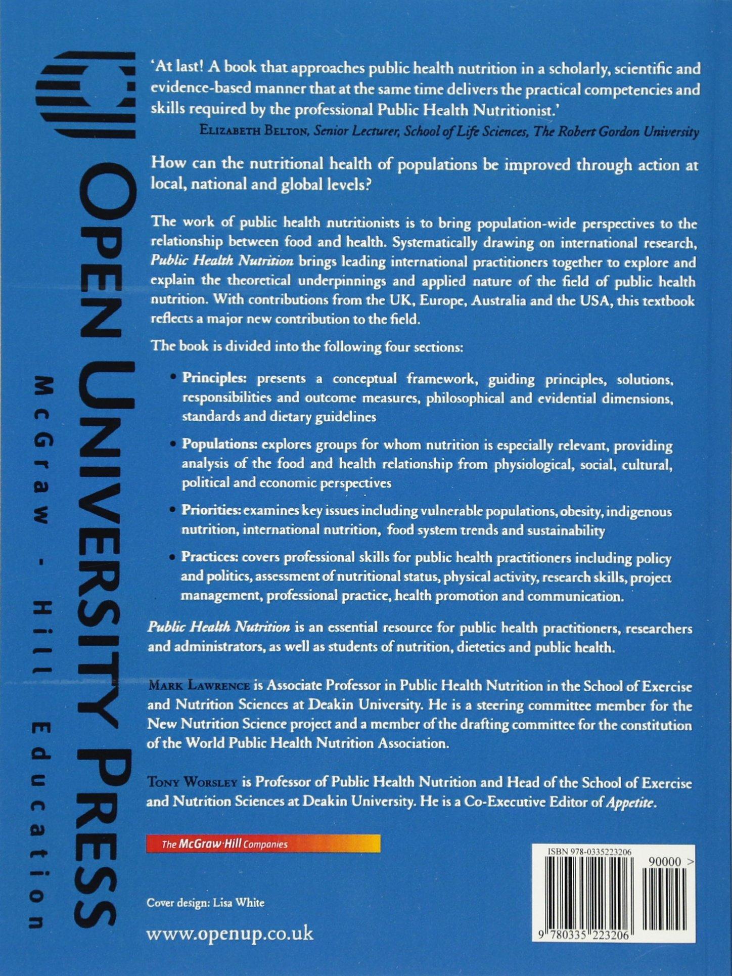 public health nutrition mark lawrence tony worsley 9780335223206 amazoncom books