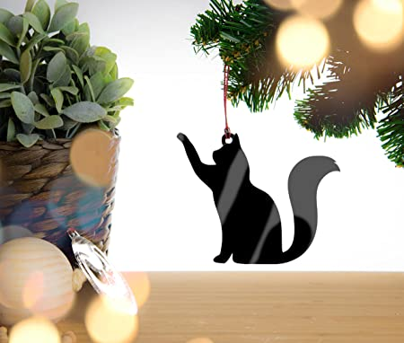 cat christmas decoration black acrylic christmas decoration christmas bauble with red cord
