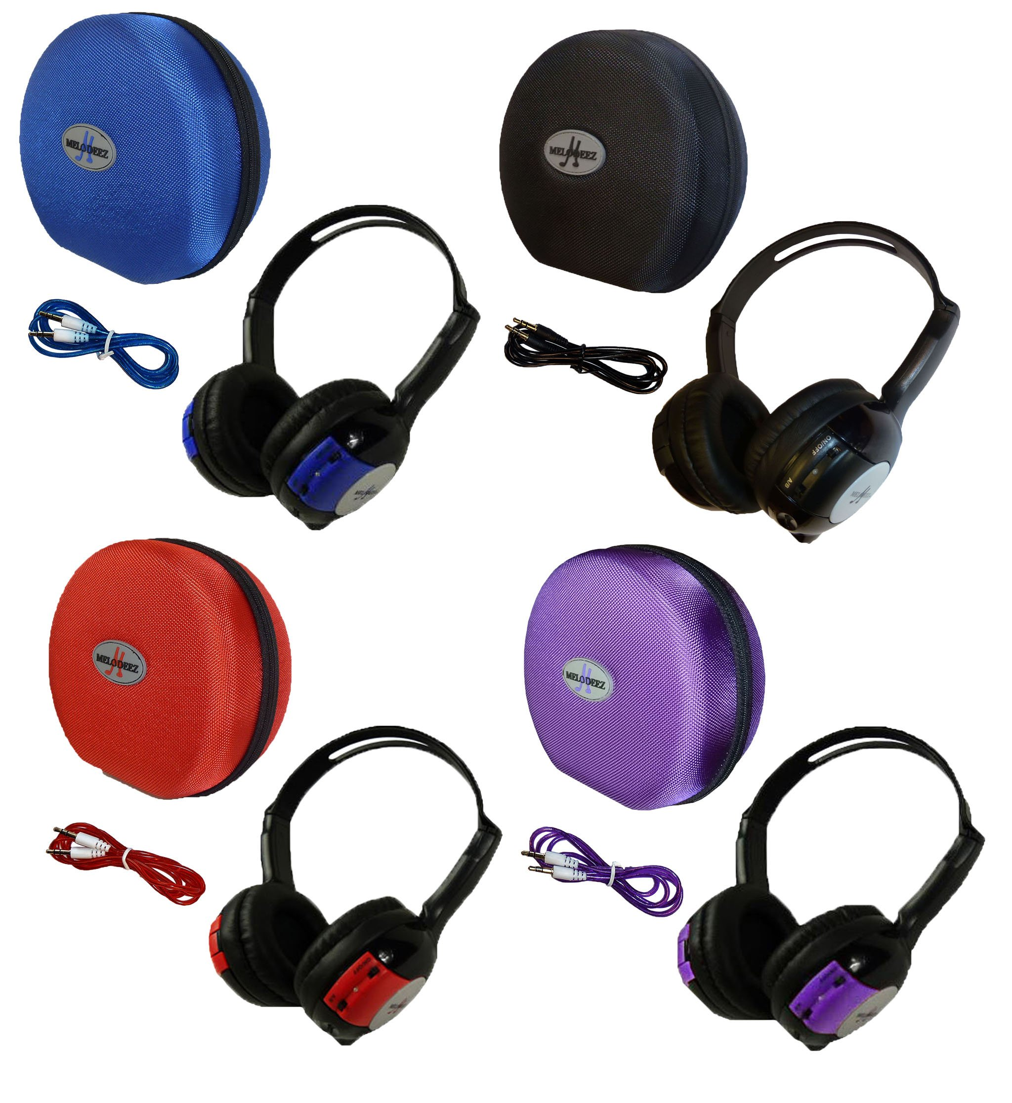 4 Pack Kid Sized Wireless Infrared Car DVD IR Automotive Colored Adjustable 2 Channel Headphones With Case and 3.5mm Auxiliary Cord. Note: Will Not Work on 2017+ GM's or Pacifica by Wisconsin Auto Supply