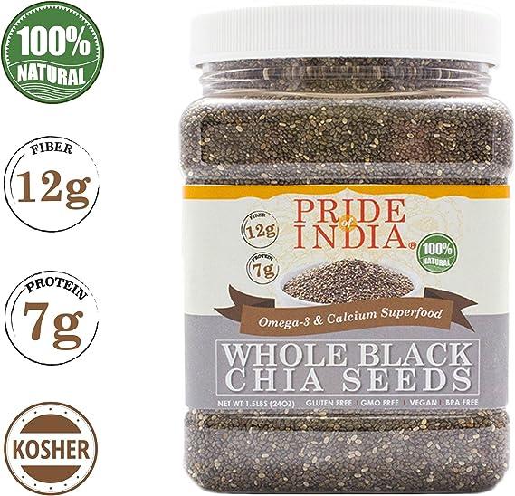 El orgullo de la India - Las semillas enteras Negro Chia - Omega-3 ...