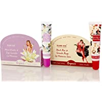 Island Kiss, 100% Natural & Organic Lip Balm & Stain Combo -Two Smack With Spf 15, Black Rose & Grenade Rouge (14 Gms) + Alma Vanilla & Inges Lavender (14 Gms)