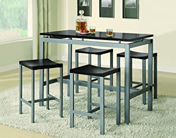 Awesome Coaster 5 Piece Metal Dining Set With 4 Barstools, Silver/Black