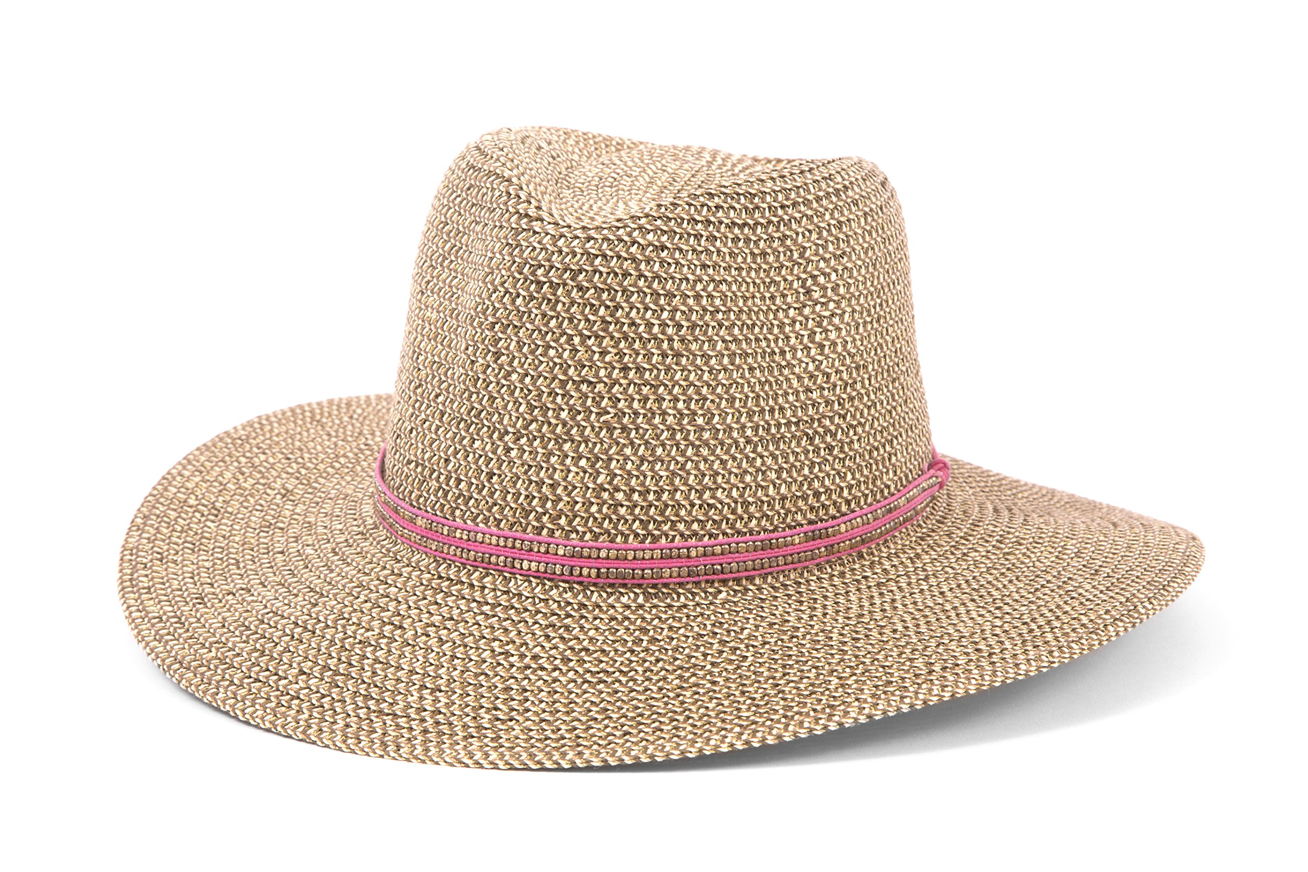 'ale by alessandra Women's Kenzie Toyo Straw Fedora Sunhat Packable and Adjustable, Pink, One Size