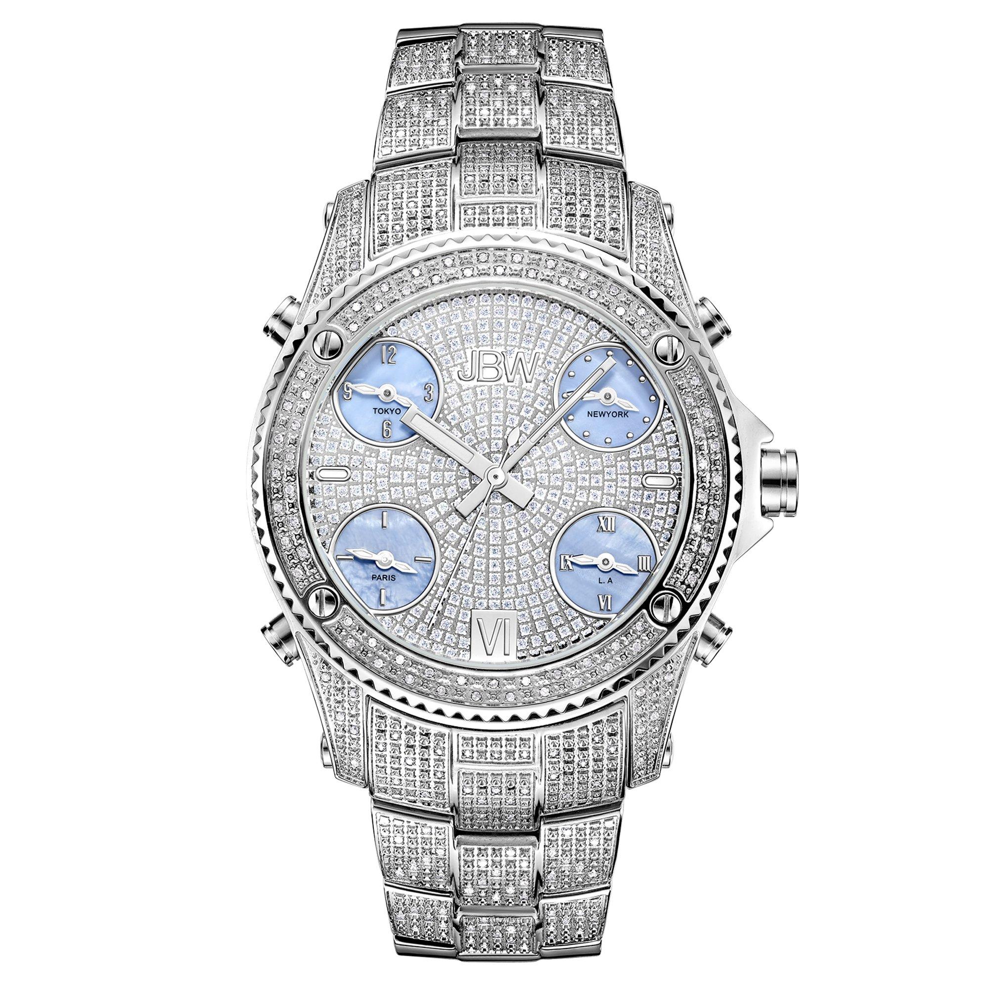 JBW Men's JB-6213-C ''Jet Setter'' Silver Stainless Steel Five Time Zone Diamond Watch