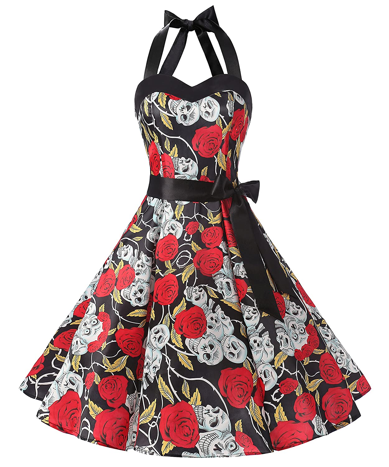 TALLA XXL. Dresstells® Halter 50s Rockabilly Polka Dots Audrey Dress Retro Cocktail Dress Black Skull XXL