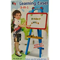 kidzone 3 In 1 Educational Magnetic White Chalk Board Learning Easel for Kids (84 Pieces)