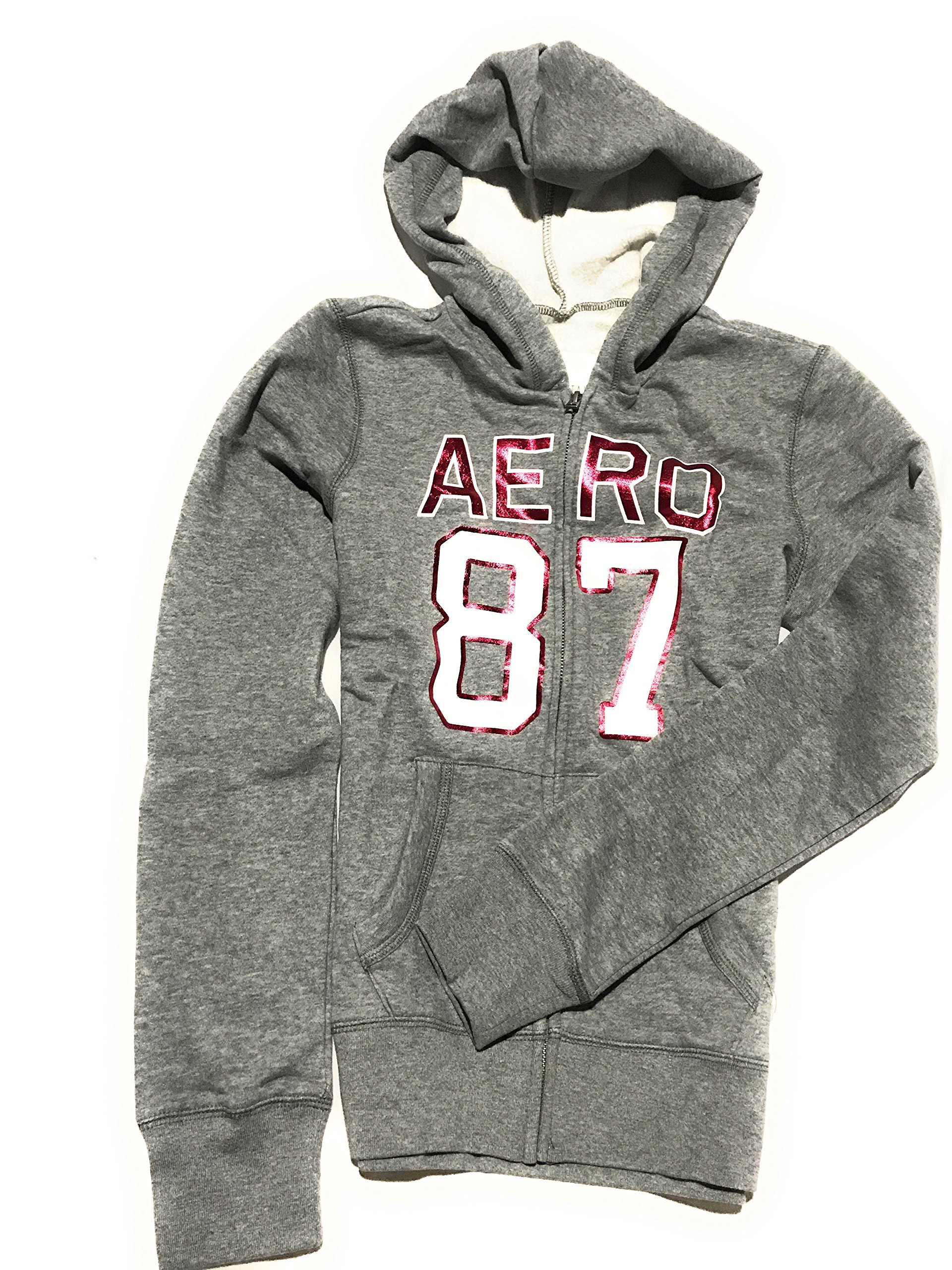Aeropostale Women's Classic Zip-up Graphic Mountain Hoodie With Logo on The Arm Style 3948 (Grey, Small)