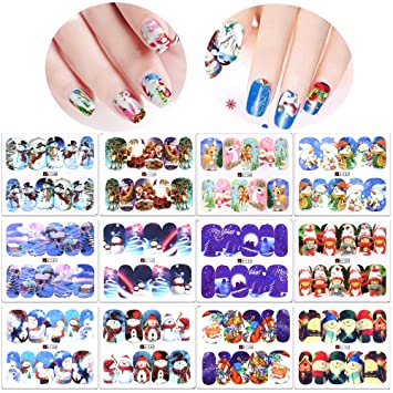 Amazon Com Christmas Nail Decals Water Transfer 12 Pack Konsait
