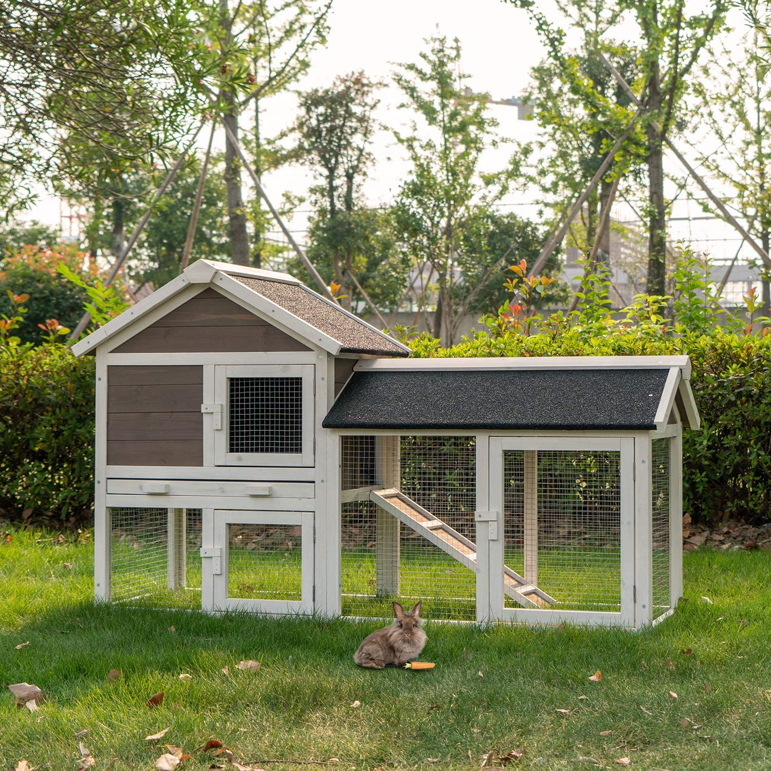 Amazon.com : Kinsuite Rabbit Hutch Outdoor Bunny Cage with ... on stone face house designs, house house designs, turkey house designs, duck house designs, hawk house designs, bird house designs, cat house designs, rabbit blueprints, small hog house designs, birdhouse house designs, rabbit engineering, flower house designs, wolf house designs, rabbit houses outdoor, crab house designs, faerie house designs, rottweiler dog house designs, ariel house designs, rabbit farming for profit, playing card house designs,