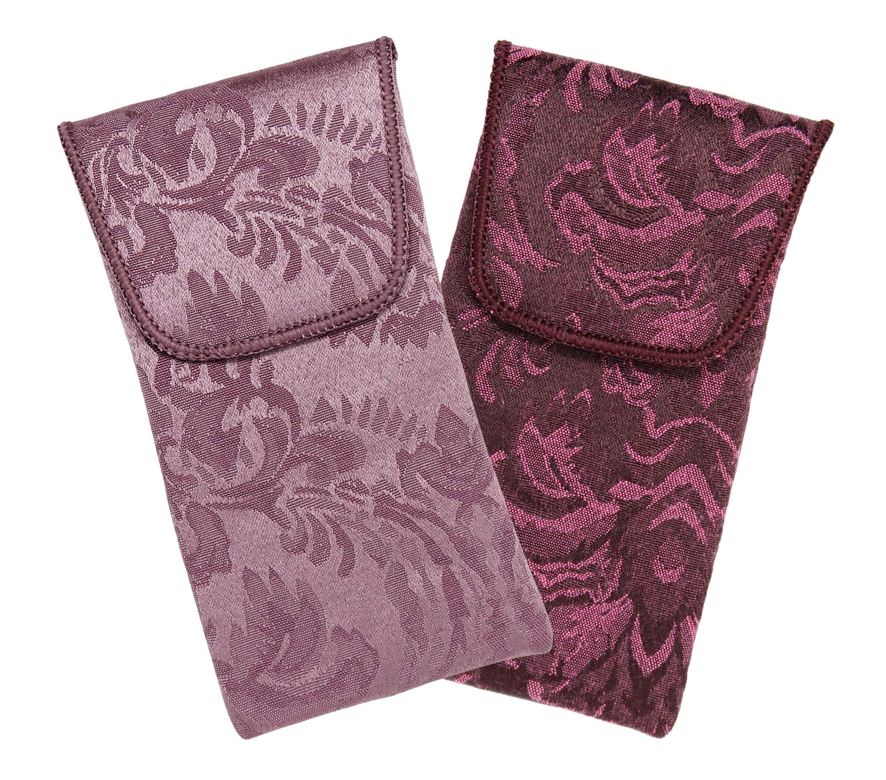 2 Pack Fabric Eyeglass Case Top Closure, Slip In Eyeglass Case Soft For Medium To Large Glasses, Women