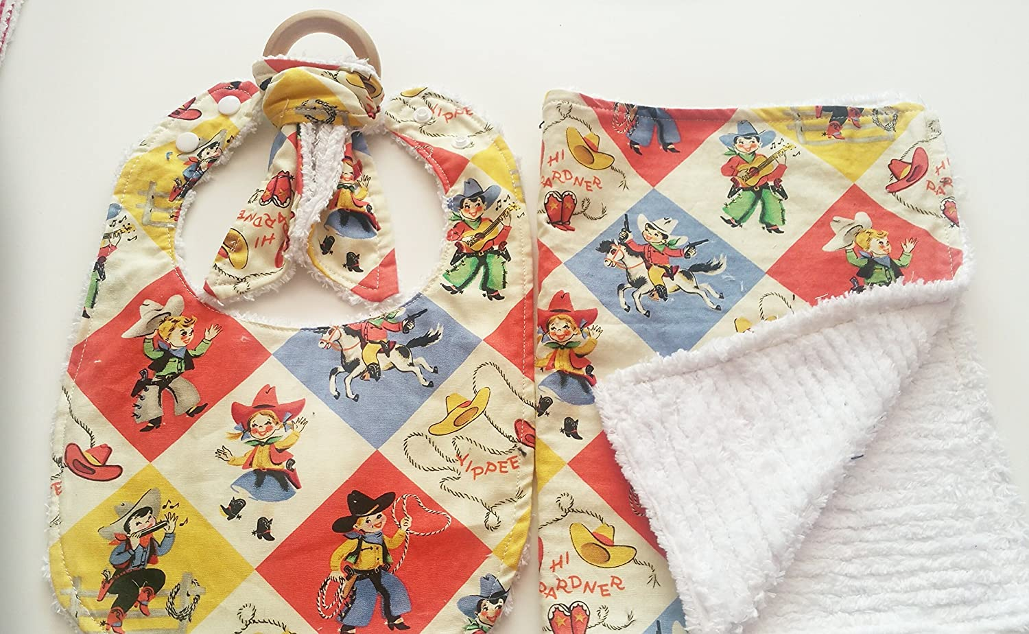 Retro Cowboy Bib Set With Chenille Backing