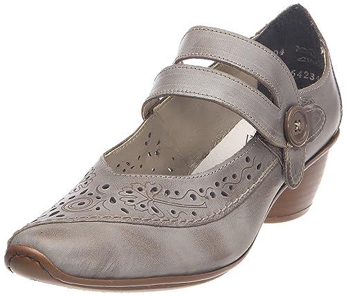 Rieker - Zapatos de vestir de cuero para mujer, Gris, 41: Amazon.es: Zapatos y complementos