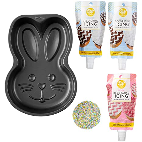 Amazon Com Wilton Easter Bunny Cake Baking And Decorating Set 5