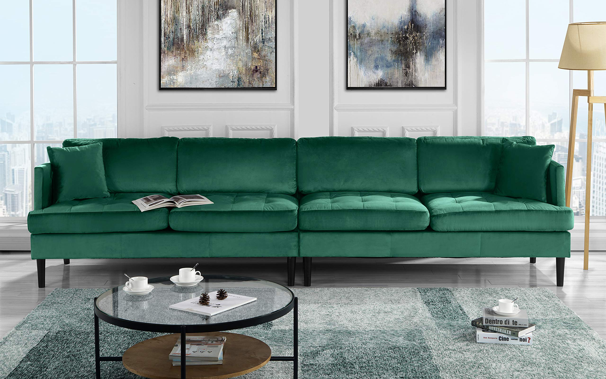 Mid Century Modern Extra Large Velvet Sofa, Living Room Couch (Green) by Casa Andrea Milano