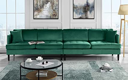 Mid Century Modern Extra Large Velvet Sofa, Living Room Couch (Green)