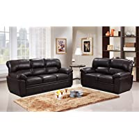 SC Furniture Ltd Brown Leather Gel Fabric Material 3 Seater + 2 Seater Sofas Suite SYLVANNA
