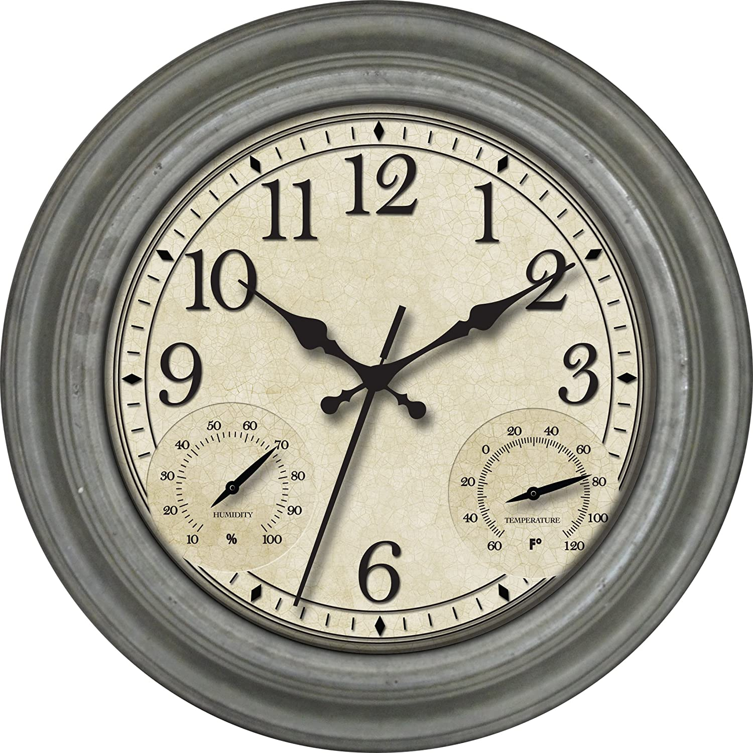 Amazon ashton sutton indoor and outdoor wall clock with amazon ashton sutton indoor and outdoor wall clock with galvanized finish case home kitchen amipublicfo Image collections