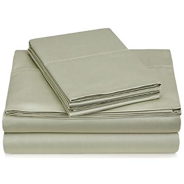 Pinzon 400-Thread-Count Egyptian Cotton Sateen Hemstitch Sheet Set - Queen, Sage