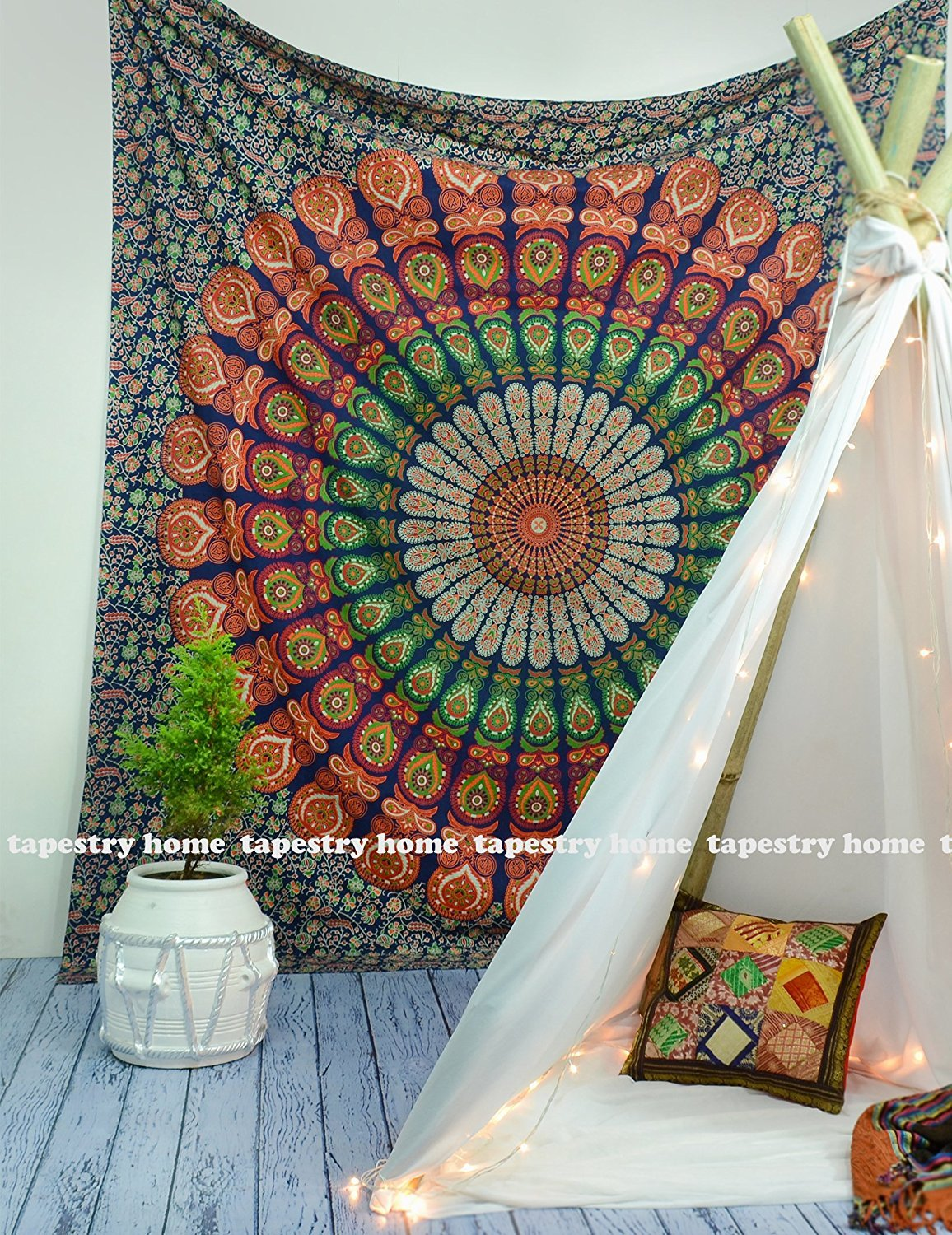 tapestry home th-002 large Hippie Mandala Bohemian Tapestry Wall Hanging, Psychedelic Wall Art, Dorm Décor Beach Throw, Indian Wall Tapestries 84x90 Inches