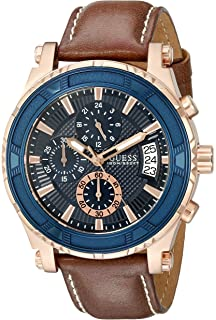Guess Mens Brown Rose Gold-Tone Leather Sport Watch