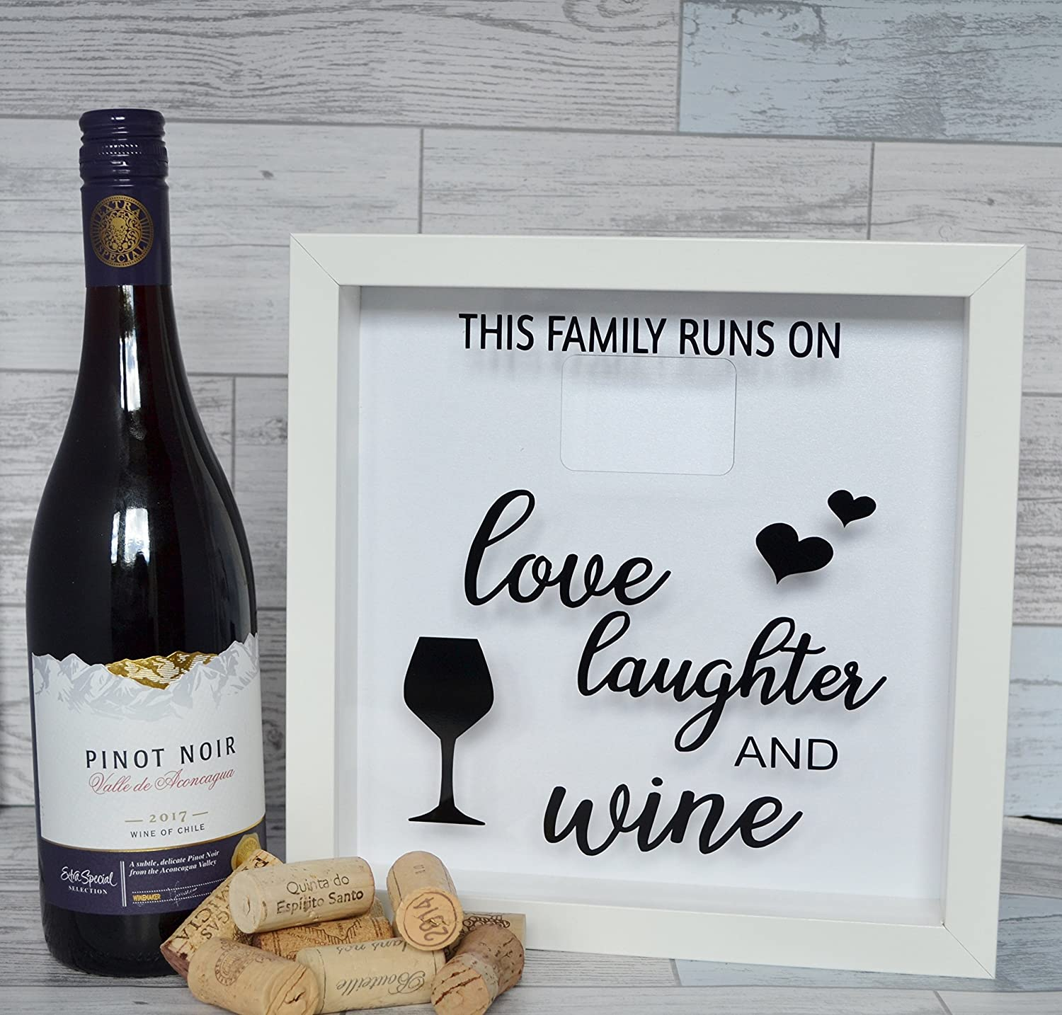 Wine Lovers Cork Holder Frame, This Family Runs On Love