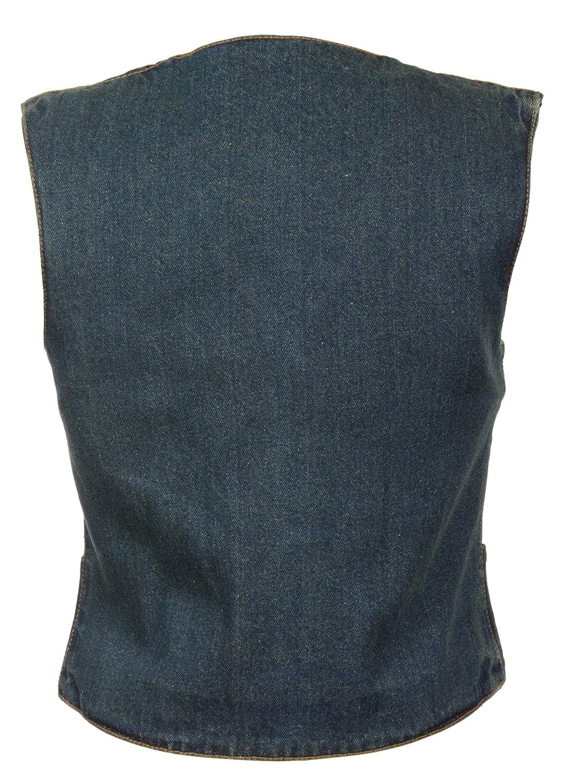 14//12 OZ DEN Milwaukee Womens 4 Front Snap Denim Vest Black, XX-Large