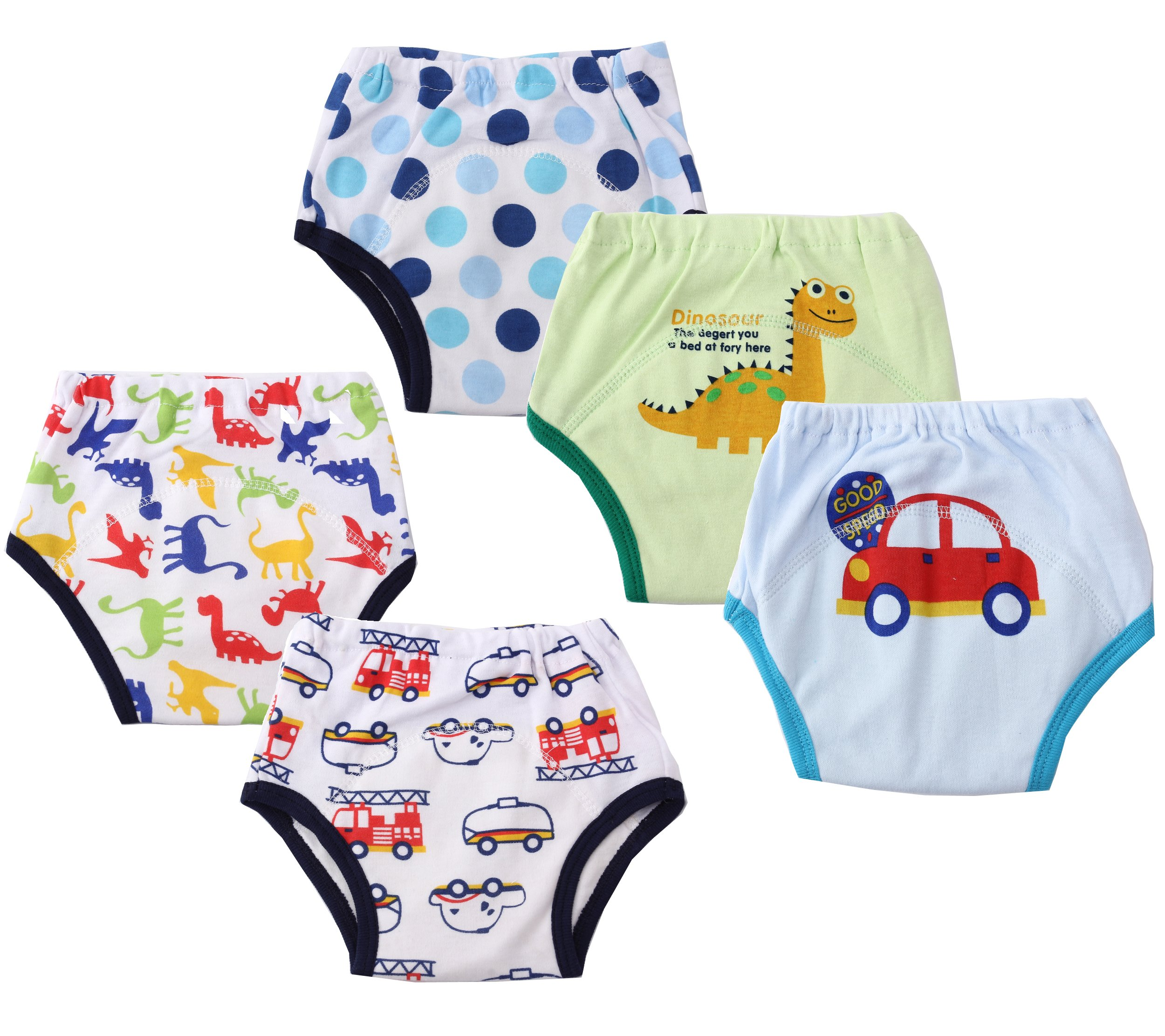 Dimore Baby Toddler 5 Pack Cotton Waterproof Training Pants (L, Boy)