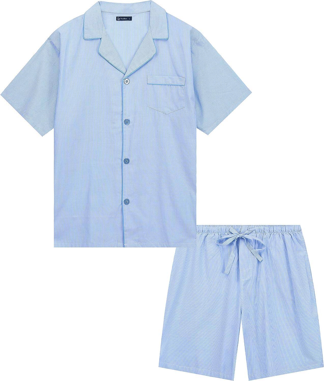 Twin Boat Men's 100% Woven Cotton Short Pajama Sleepwear Set
