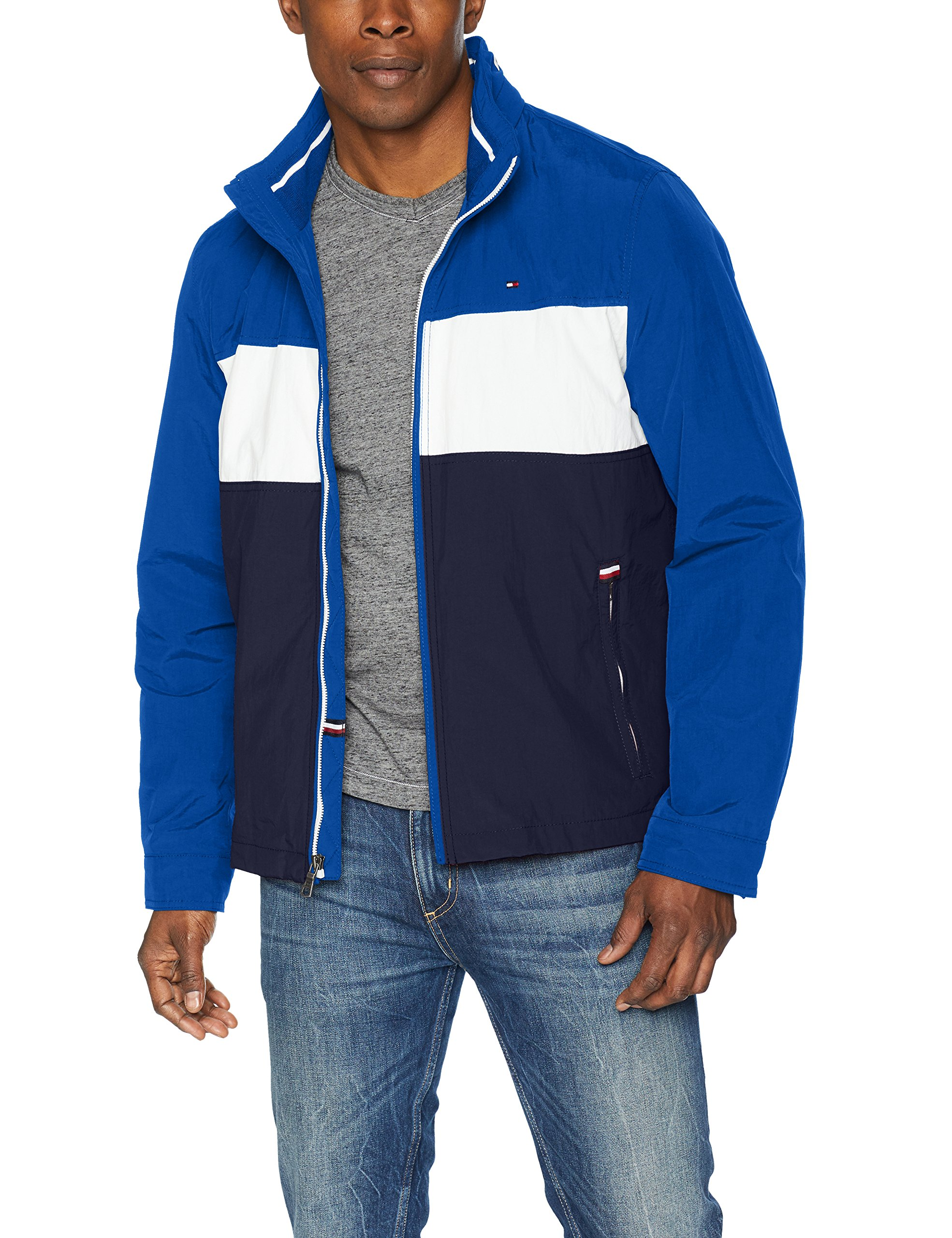 Tommy Hilfiger Men's Stand Collar Lightweight Yachting Jacket, Royal Blue/Ice/Navy, Medium by Tommy Hilfiger