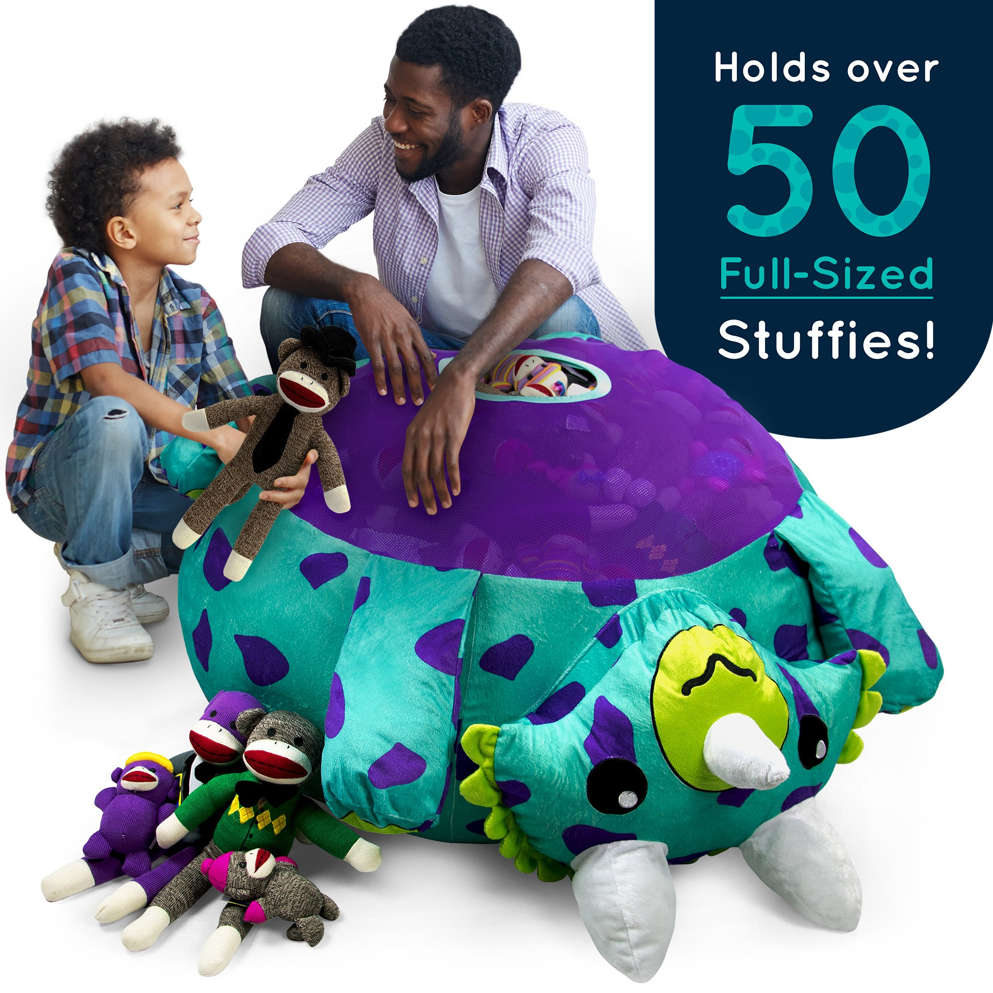 Stuffums Bean Bag Chair and Stuffed Animal Storage - 3-foot Turquoise Triceratops Dinosaur Pouf with Breathable Mesh Bottom, Holds Over 50 Plushies! Great for Bedrooms, Playrooms, & Dorms by Stuffums