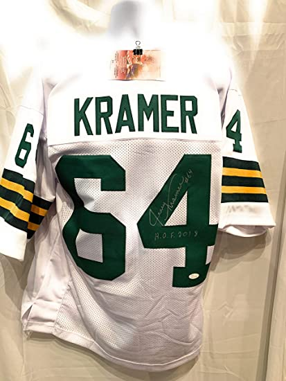 3a2959aa746e2 Jerry Kramer Green Bay Packers Signed Autograph White Custom Jersey HOF  Inscribed JSA Witnessed Certified at Amazon's Sports Collectibles Store