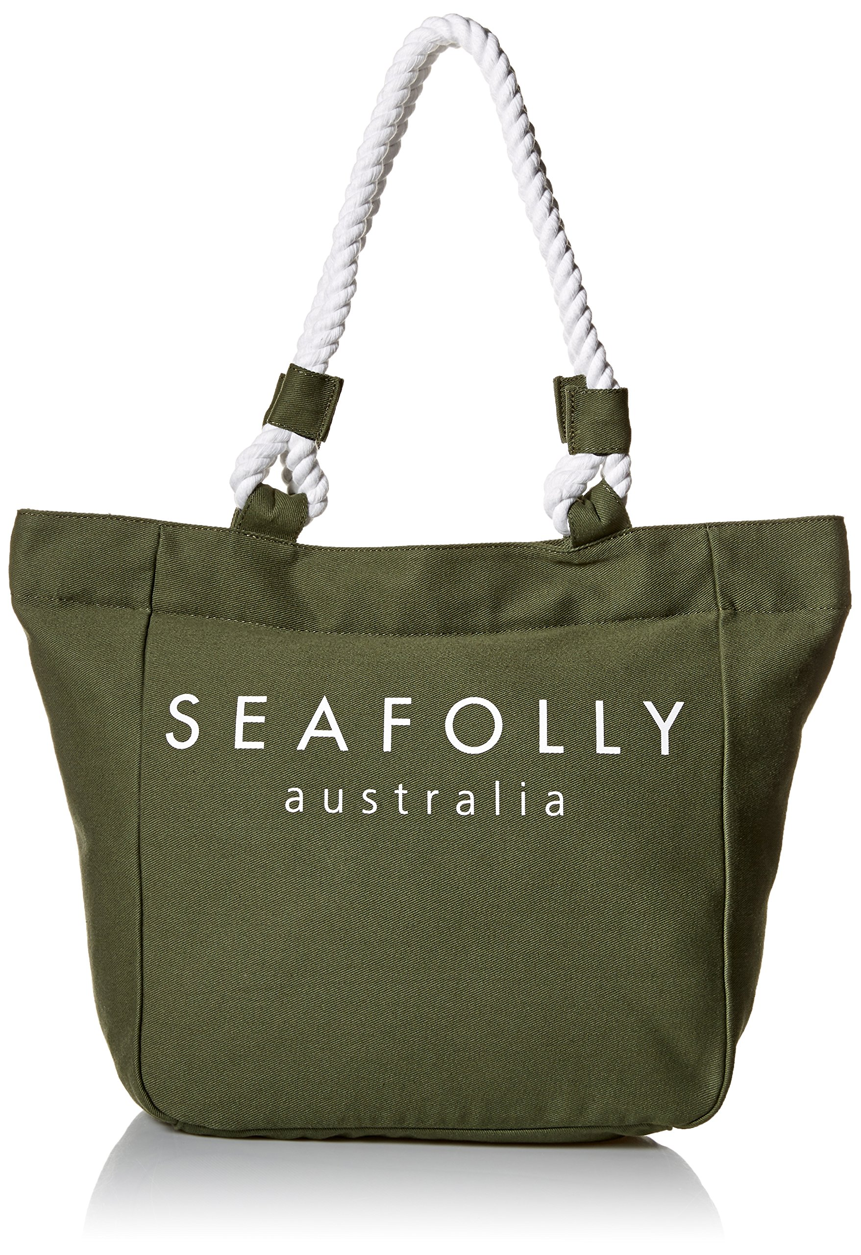 Seafolly Women's Canvas Rope Tote, Carried Away Dark Olive, One Size