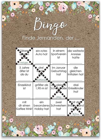 Bingokarten | Hochzeitsspiel 50 Stück