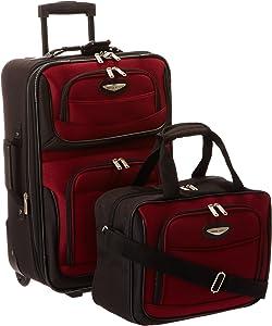 Travel Select Amsterdam Expandable Rolling Upright Luggage, Burgundy, 2-Piece Set