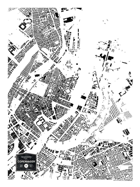 CityFabric Print Buildings of Copenhagen Kitchen and More White, 18x24 Denmark Modern Neighborhood Map Poster Wall Art for Bedroom Living Room