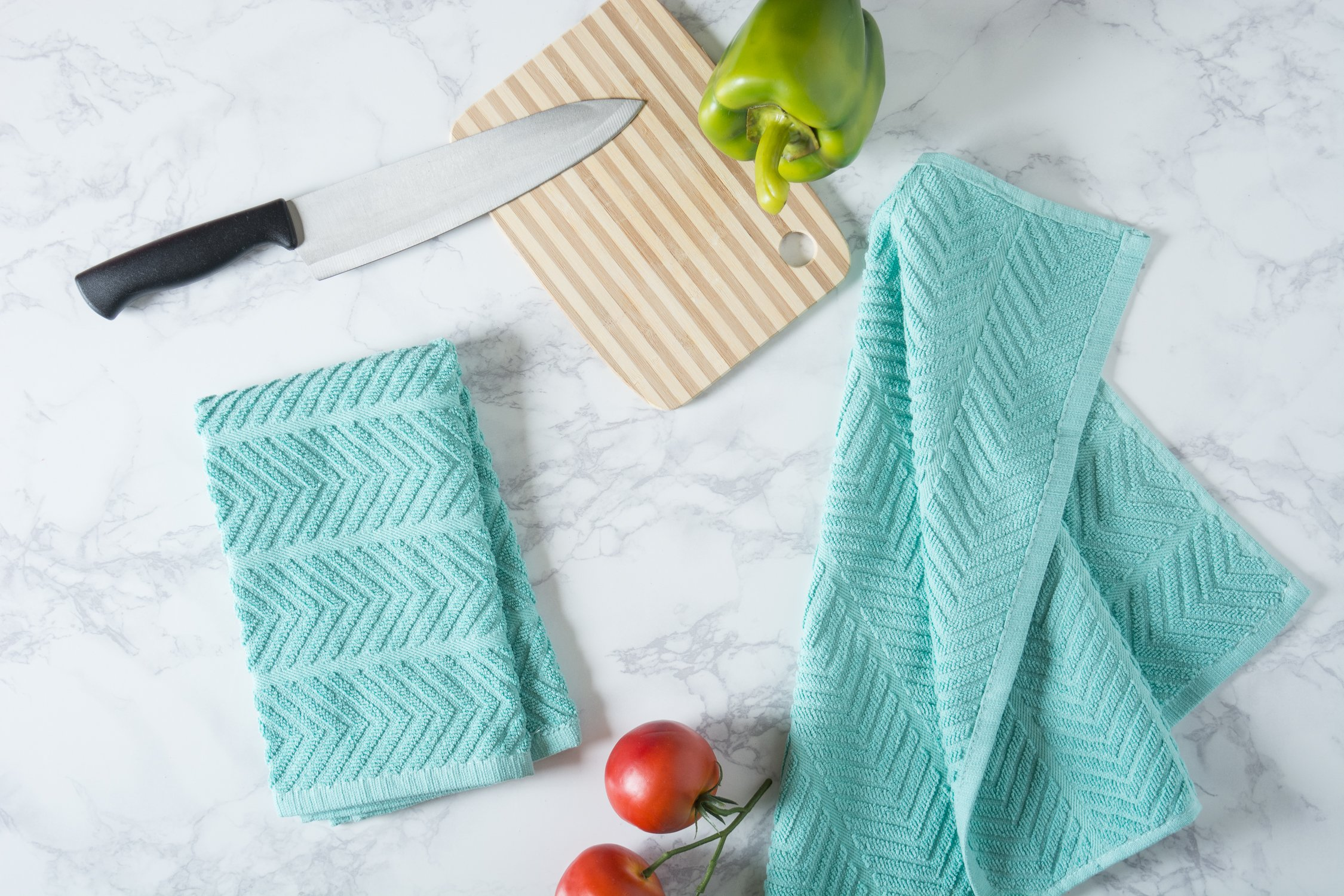 DII 100% Cotton Ultra-Absorbent Cleaning Drying Luxury Kitchen Chevron Bar Mop Dish Towels for Everyday Home Basic 16 x 19 Set of 4- Aqua by DII (Image #5)