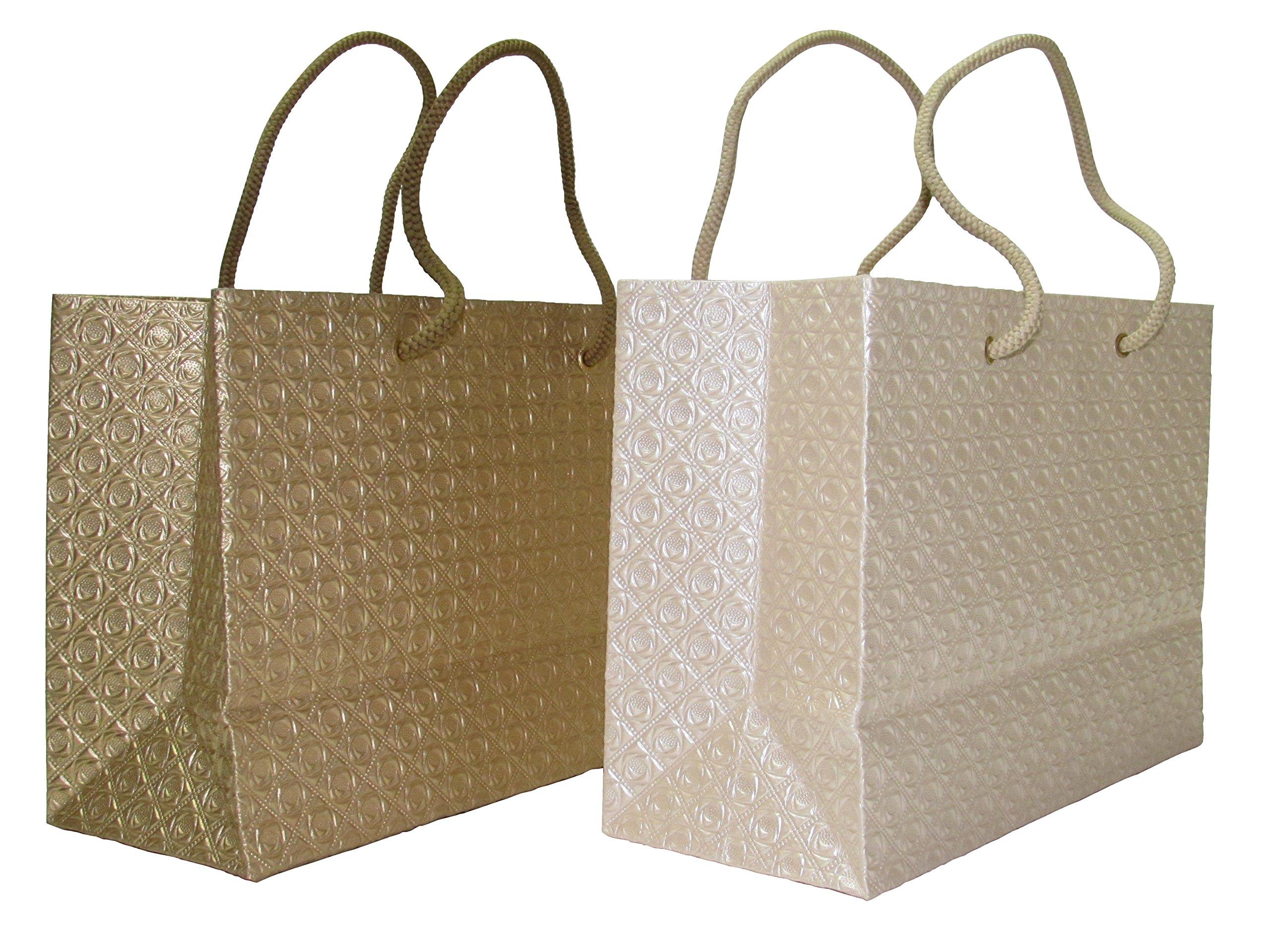 Top Grade Exquisite Embossed Rose Metallic Gift Bags - 2/pk (Gift Bag, Cream/Gold)