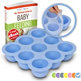 KIDDO FEEDO Multi-Portion Freezer Tray with Silicone Clip-on Lid for Freezing Homemade Baby Food and Breast Milk - BPA Free - 9x75ml Portions - Free eBook by Award-Winning Author/Dietitian - Blue
