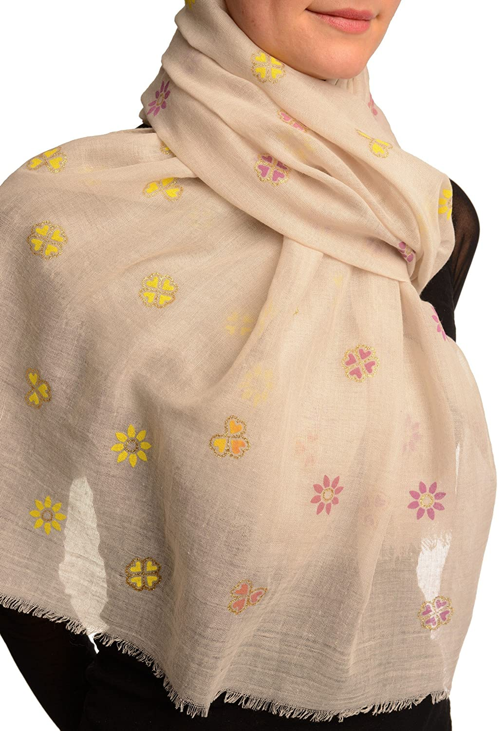 Printed Clover With Gold Lurex On Beige Unisex Scarf - Scarf