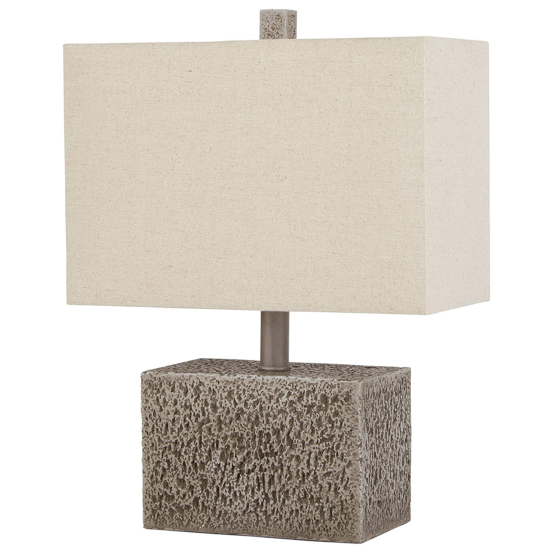 "Stone & Beam Modern Slate Rock Table Lamp, 16""H, With Bulb, White Shade"